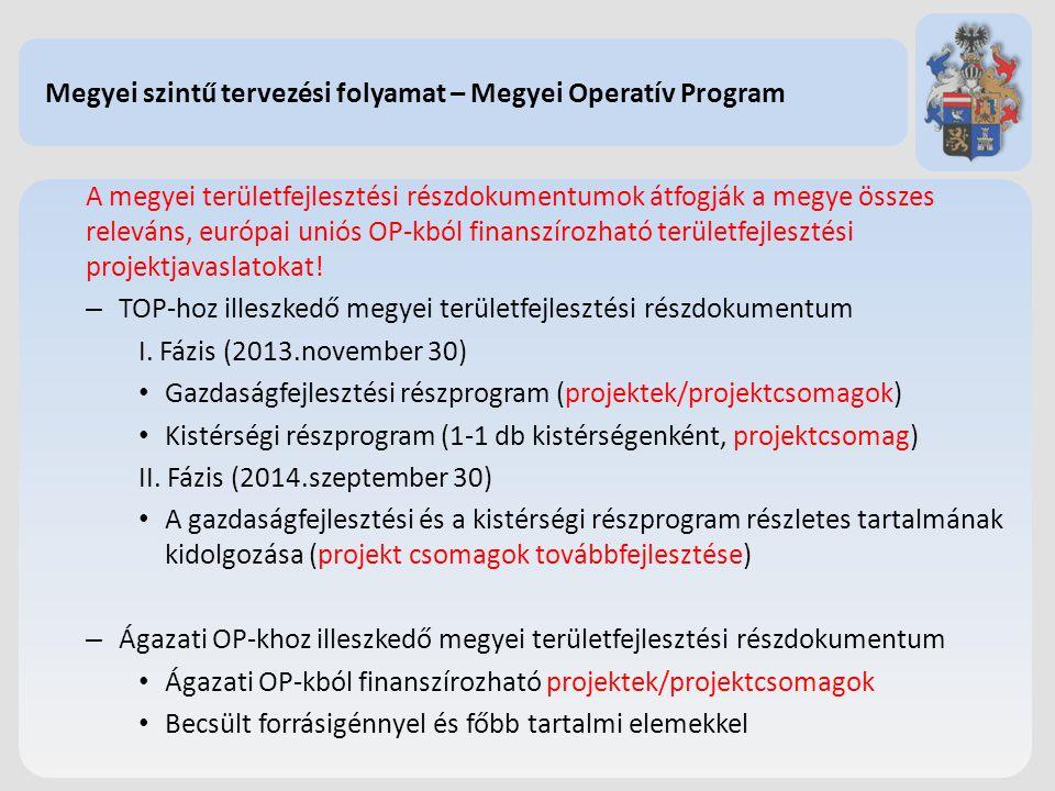 Megyei szintű tervezési folyamat – Megyei Operatív Program A megyei területfejlesztési részdokumentumok átfogják a megye összes releváns, európai unió