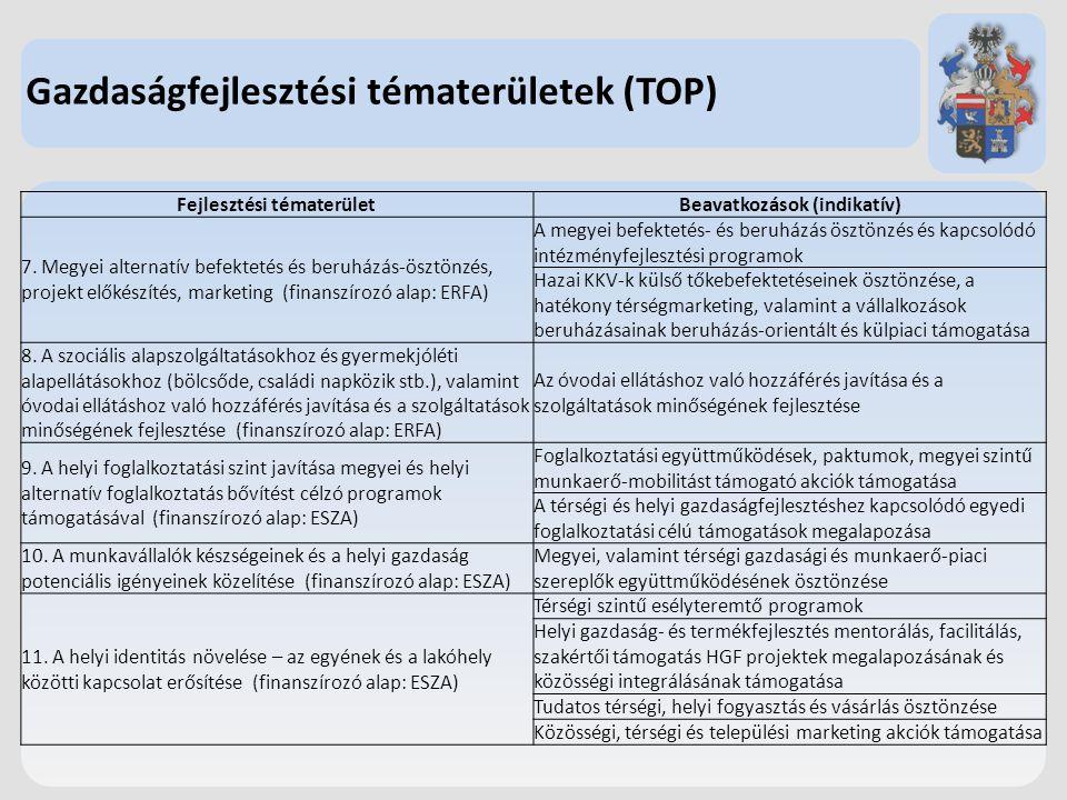 Gazdaságfejlesztési tématerületek (TOP) Fejlesztési tématerületBeavatkozások (indikatív) 7. Megyei alternatív befektetés és beruházás-ösztönzés, proje