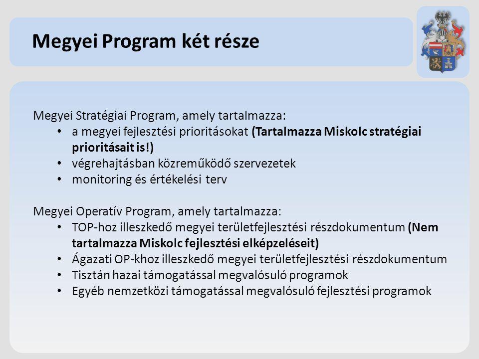 Megyei Program két része Megyei Stratégiai Program, amely tartalmazza: a megyei fejlesztési prioritásokat (Tartalmazza Miskolc stratégiai prioritásait