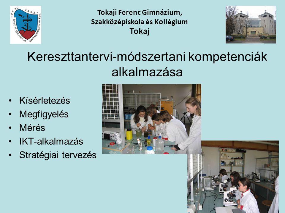 Kereszttantervi-módszertani kompetenciák alkalmazása Kísérletezés Megfigyelés Mérés IKT-alkalmazás Stratégiai tervezés Tokaji Ferenc Gimnázium, Szakkö