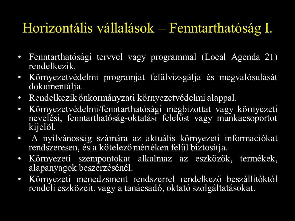 Horizontális vállalások – Fenntarthatóság II.
