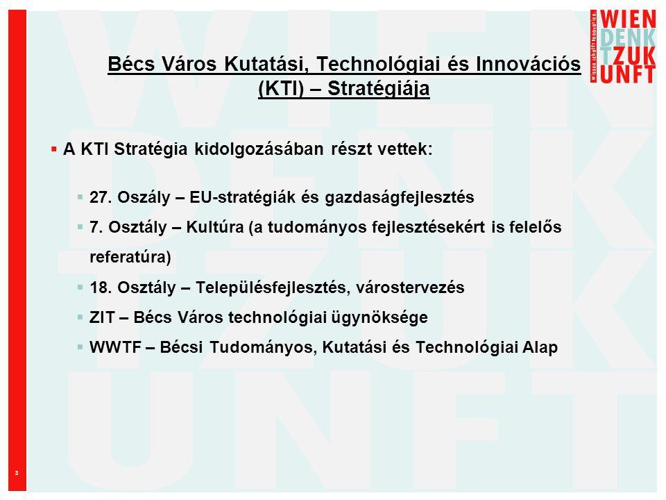 3 Bécs Város Kutatási, Technológiai és Innovációs (KTI) – Stratégiája  A KTI Stratégia kidolgozásában részt vettek:  27.
