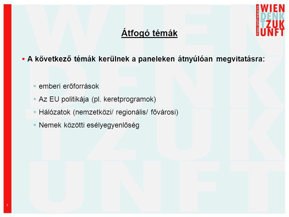 7 Átfogó témák  A következő témák kerülnek a paneleken átnyúlóan megvitatásra:  emberi erőforrások  Az EU politikája (pl.