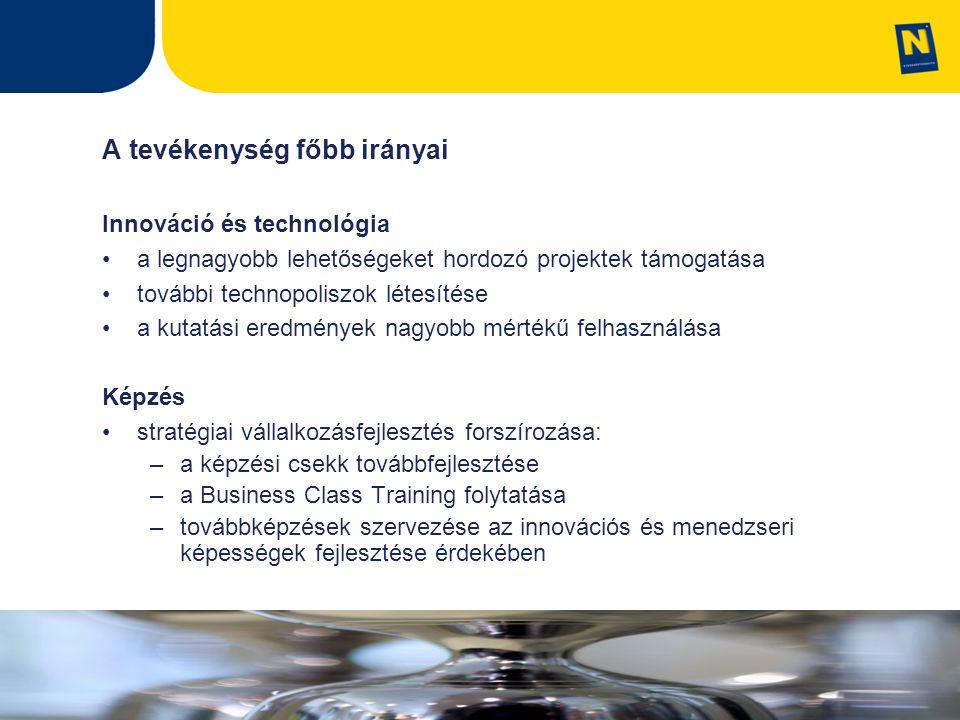A tevékenység főbb irányai Innováció és technológia a legnagyobb lehetőségeket hordozó projektek támogatása további technopoliszok létesítése a kutatási eredmények nagyobb mértékű felhasználása Képzés stratégiai vállalkozásfejlesztés forszírozása: –a képzési csekk továbbfejlesztése –a Business Class Training folytatása –továbbképzések szervezése az innovációs és menedzseri képességek fejlesztése érdekében