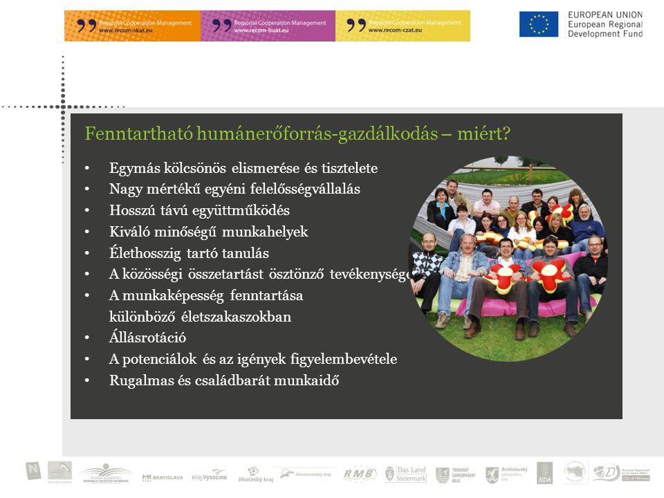Egymás kölcsönös elismerése és tisztelete Nagy mértékű egyéni felelősségvállalás Hosszú távú együttműködés Kiváló minőségű munkahelyek Élethosszig tartó tanulás A közösségi összetartást ösztönző tevékenységek A munkaképesség fenntartása különböző életszakaszokban Állásrotáció A potenciálok és az igények figyelembevétele Rugalmas és családbarát munkaidő Fenntartható humánerőforrás-gazdálkodás – miért