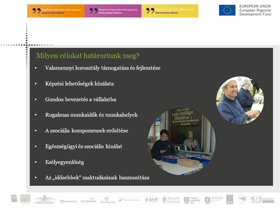 """Valamennyi korosztály támogatása és fejlesztése Képzési lehetőségek kínálata Gondos bevezetés a vállalatba Rugalmas munkaidők és munkahelyek A szociális komponensek erősítése Egészségügyi és szociális kínálat Esélyegyenlőség Az """"idősebbek szaktudásának hasznosítása Milyen célokat határoztunk meg"""