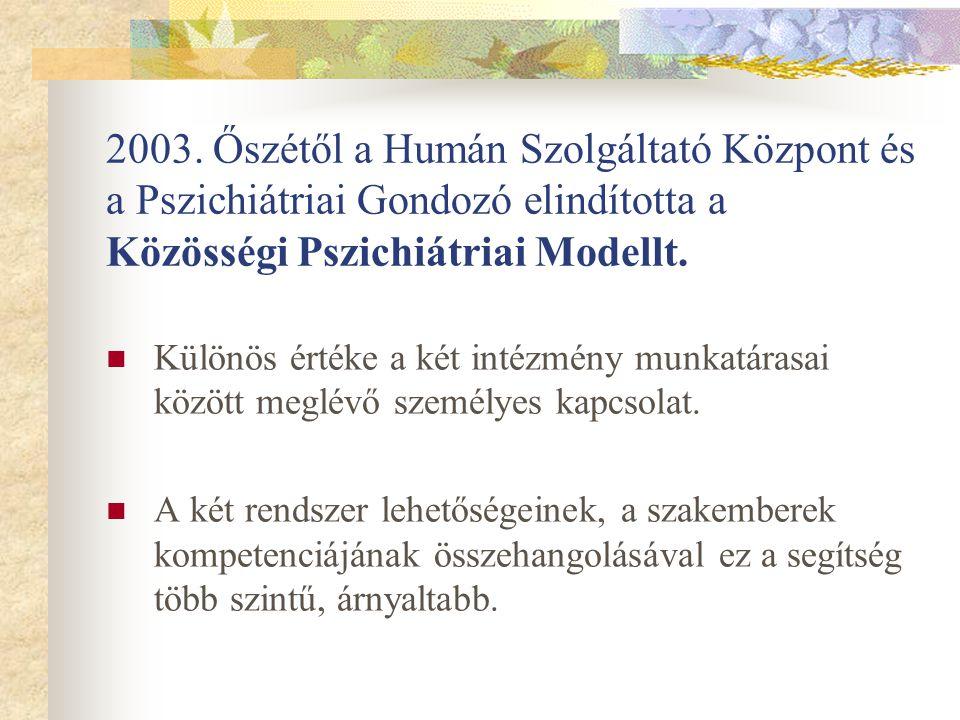 2003. Őszétől a Humán Szolgáltató Központ és a Pszichiátriai Gondozó elindította a Közösségi Pszichiátriai Modellt. Különös értéke a két intézmény mun