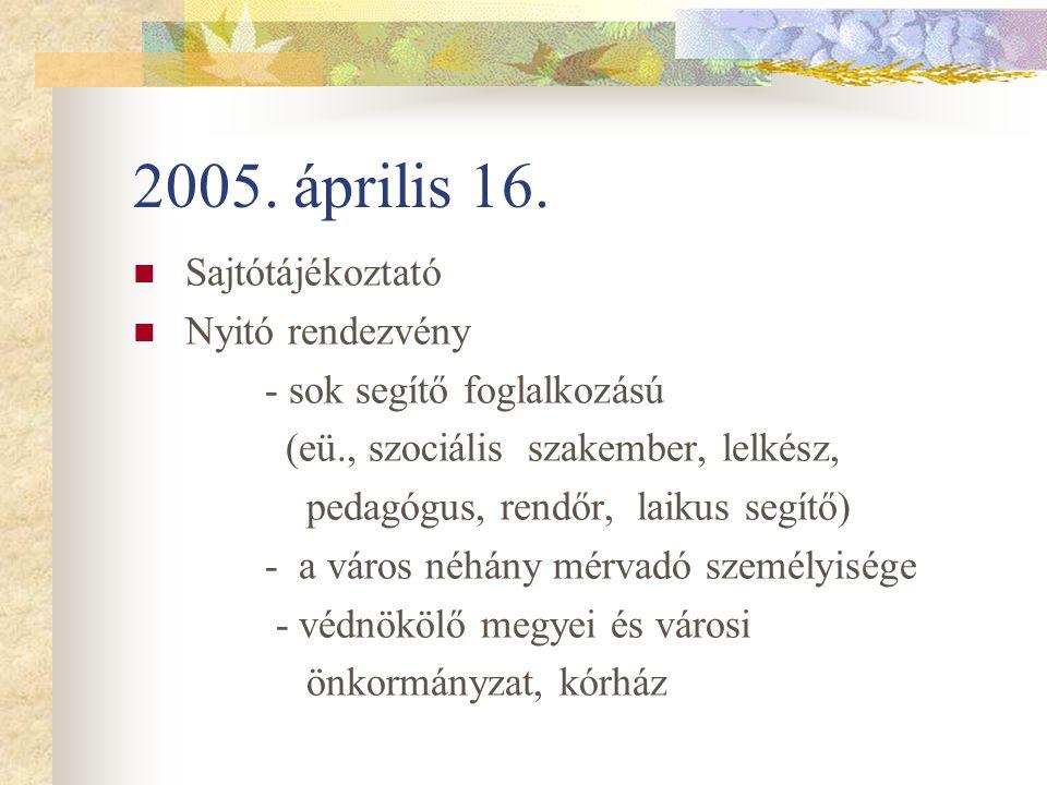 2005. április 16. Sajtótájékoztató Nyitó rendezvény - sok segítő foglalkozású (eü., szociális szakember, lelkész, pedagógus, rendőr, laikus segítő) -
