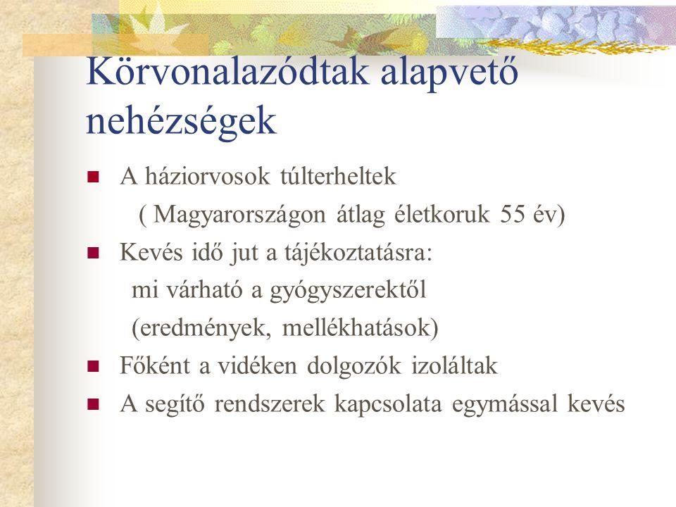 Körvonalazódtak alapvető nehézségek A háziorvosok túlterheltek ( Magyarországon átlag életkoruk 55 év) Kevés idő jut a tájékoztatásra: mi várható a gy