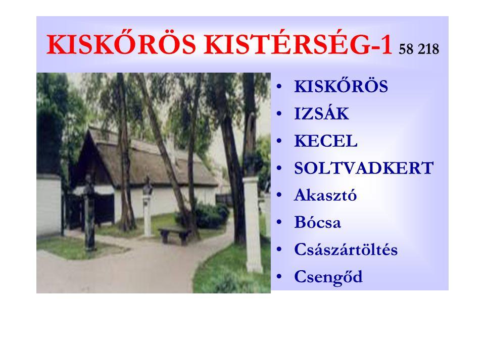 KISKŐRÖS KISTÉRSÉG-1 58 218 KISKŐRÖS IZSÁK KECEL SOLTVADKERT Akasztó Bócsa Császártöltés Csengőd