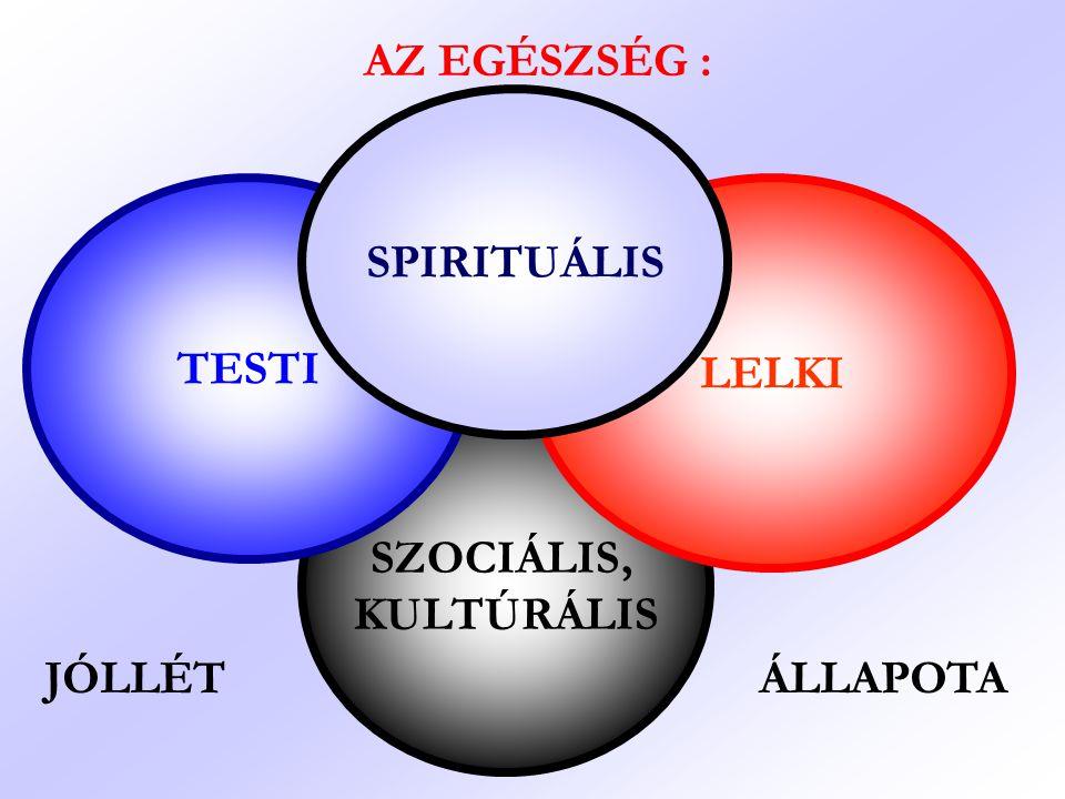 SZOCIÁLIS, KULTÚRÁLIS LELKI TESTI AZ EGÉSZSÉG : SPIRITUÁLIS JÓLLÉT ÁLLAPOTA