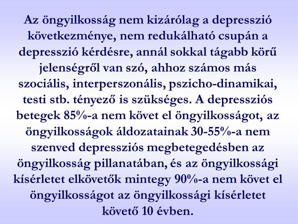 Az öngyilkosság nem kizárólag a depresszió következménye, nem redukálható csupán a depresszió kérdésre, annál sokkal tágabb körű jelenségről van szó,