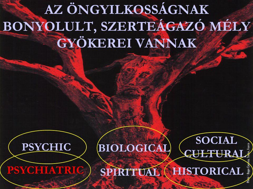 PSYCHIC PSYCHIATRIC BIOLOGICAL HISTORICAL SOCIAL CULTURAL AZ ÖNGYILKOSSÁGNAK BONYOLULT, SZERTEÁGAZÓ MÉLY GYÖKEREI VANNAK SPIRITUAL