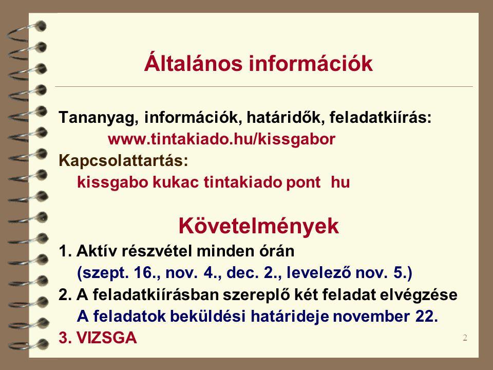 2 Általános információk Tananyag, információk, határidők, feladatkiírás: www.tintakiado.hu/kissgabor Kapcsolattartás: kissgabo kukac tintakiado pont hu Követelmények 1.