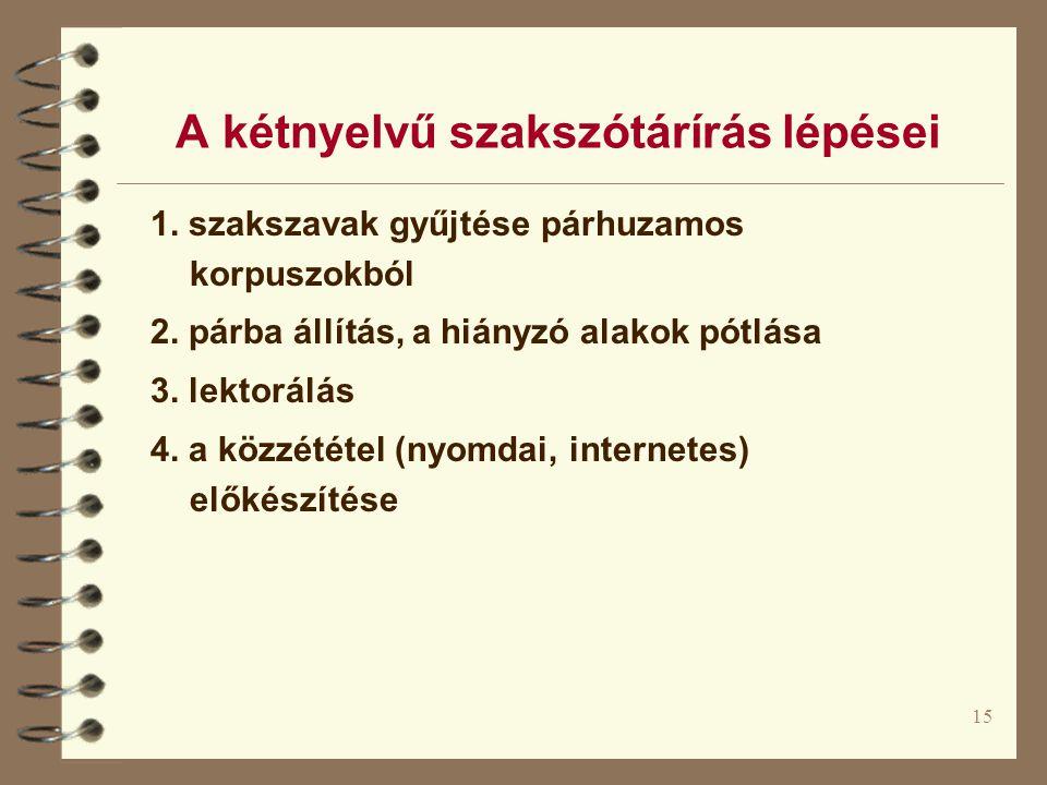 15 A kétnyelvű szakszótárírás lépései 1. szakszavak gyűjtése párhuzamos korpuszokból 2. párba állítás, a hiányzó alakok pótlása 3. lektorálás 4. a köz