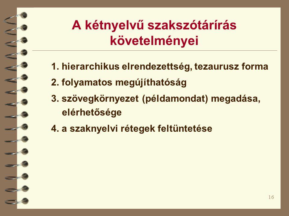 16 A kétnyelvű szakszótárírás követelményei 1. hierarchikus elrendezettség, tezaurusz forma 2. folyamatos megújíthatóság 3. szövegkörnyezet (példamond