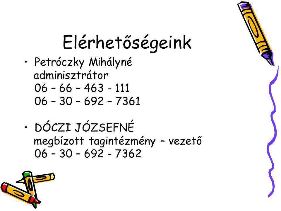 Elérhetőségeink Petróczky Mihályné adminisztrátor 06 – 66 – 463 - 111 06 – 30 – 692 – 7361 DÓCZI JÓZSEFNÉ megbízott tagintézmény – vezető 06 – 30 – 69