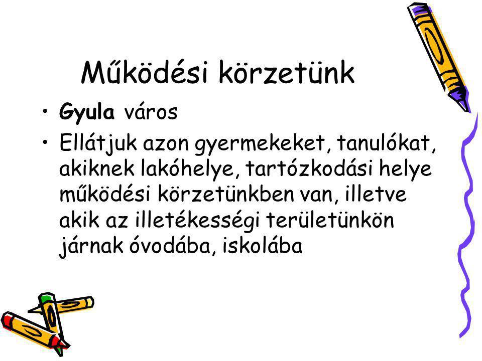 Működési körzetünk Gyula város Ellátjuk azon gyermekeket, tanulókat, akiknek lakóhelye, tartózkodási helye működési körzetünkben van, illetve akik az