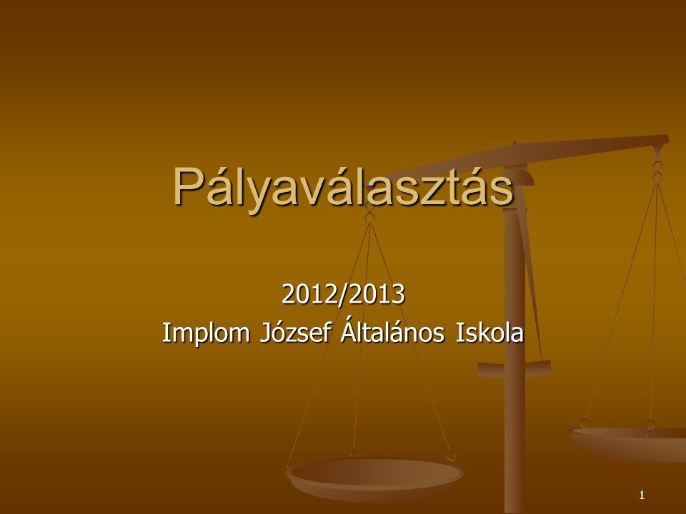 1 Pályaválasztás 2012/2013 Implom József Általános Iskola