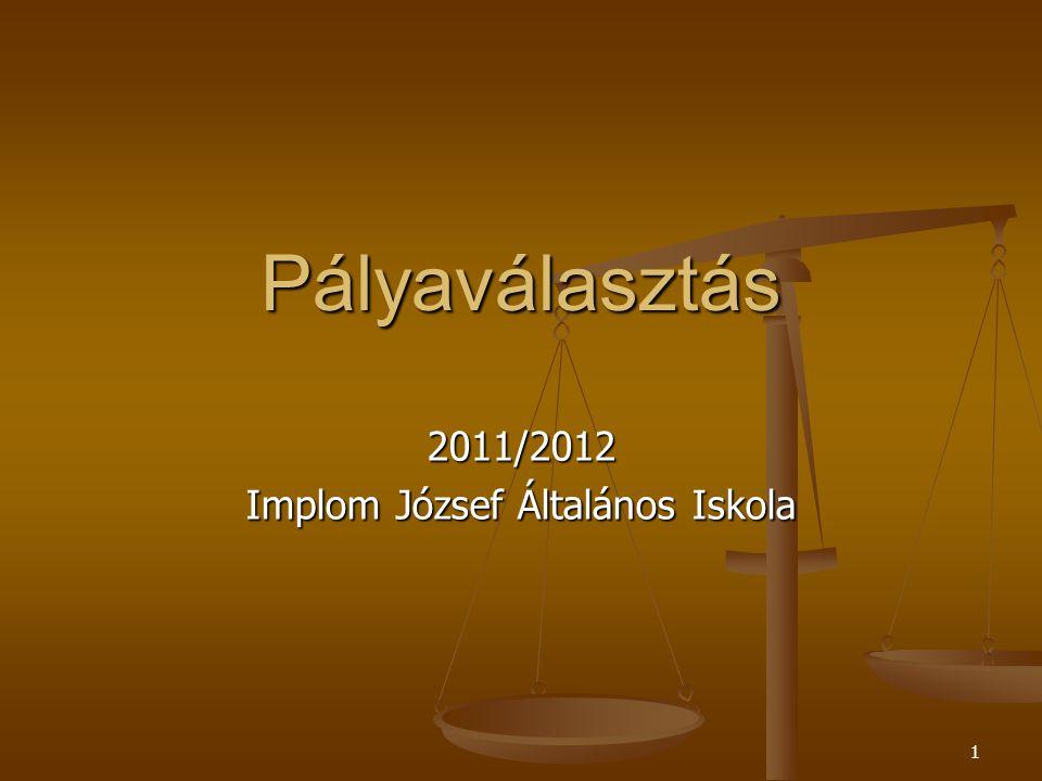 2 Pályaválasztás 2011/2012 Implom József Általános Iskola Iskolatípusok Iskolatípusok ISKOLATÍPUSOK GIMNÁZIUM ÁLTALÁBAN 4ÉV 0.ÉV 5ÉVES ÉRETTSÉGI SZAKKÖZÉPISKOLA ÁLTALÁBAN 4ÉV ESETLEG 0.ÉV 1-2 ÉV SZAKKÉPZÉS ÉRETTSÉGI 13.