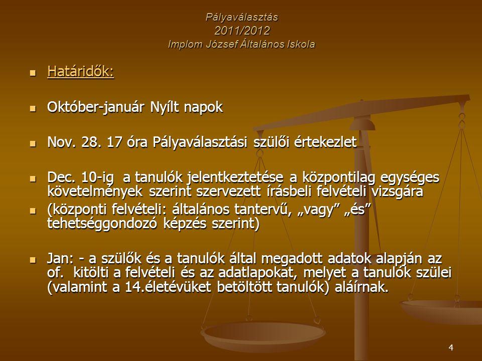 5 Pályaválasztás 2011/2012 Implom József Általános Iskola Határidők: Határidők: Jan.