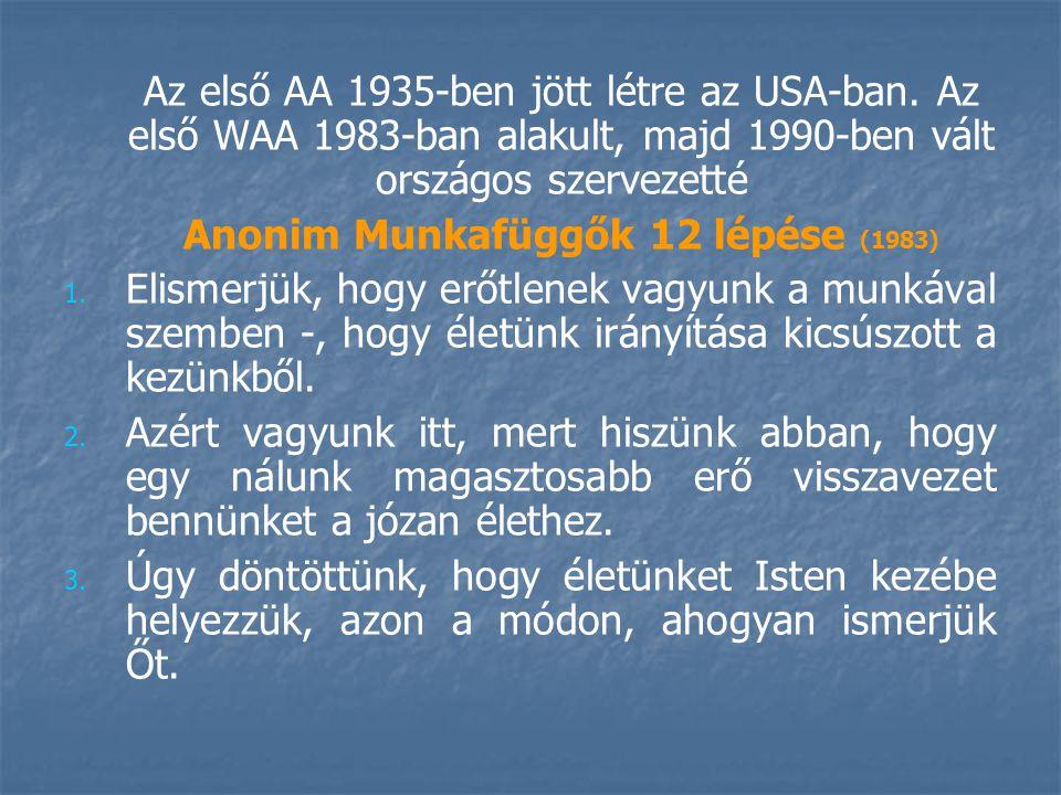 Az első AA 1935-ben jött létre az USA-ban.