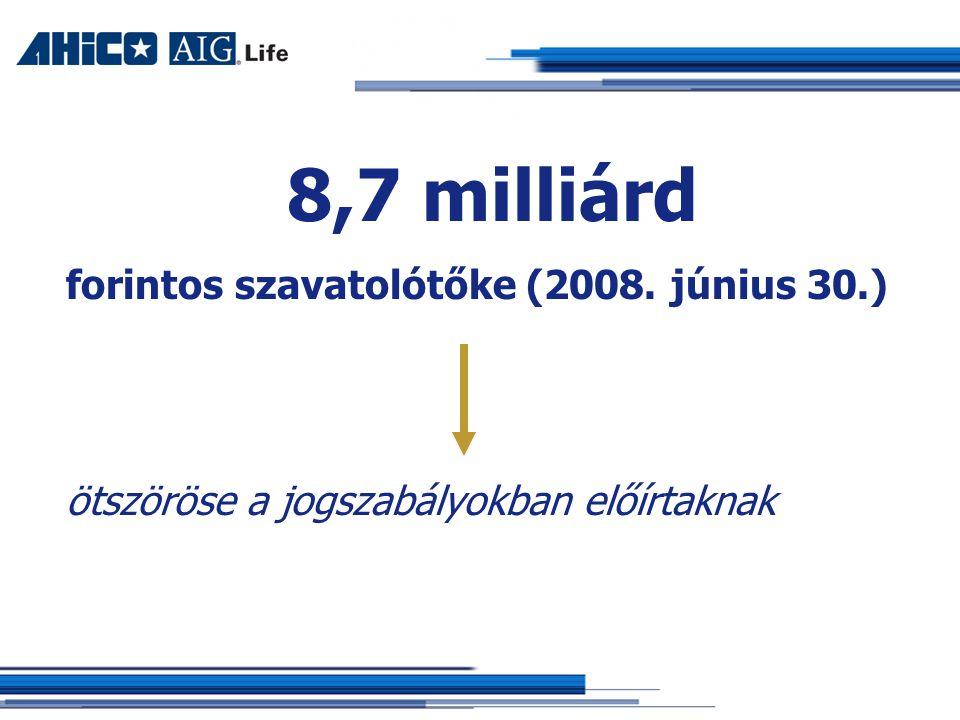 8,7 milliárd forintos szavatolótőke (2008. június 30.) ötszöröse a jogszabályokban előírtaknak
