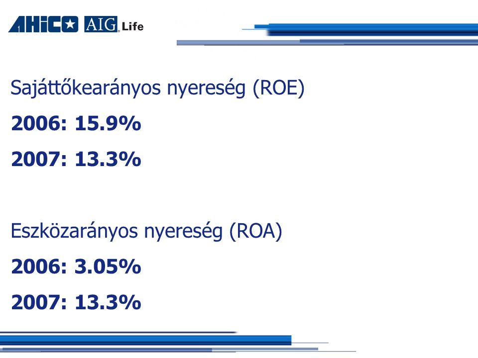 Sajáttőkearányos nyereség (ROE) 2006: 15.9% 2007: 13.3% Eszközarányos nyereség (ROA) 2006: 3.05% 2007: 13.3%