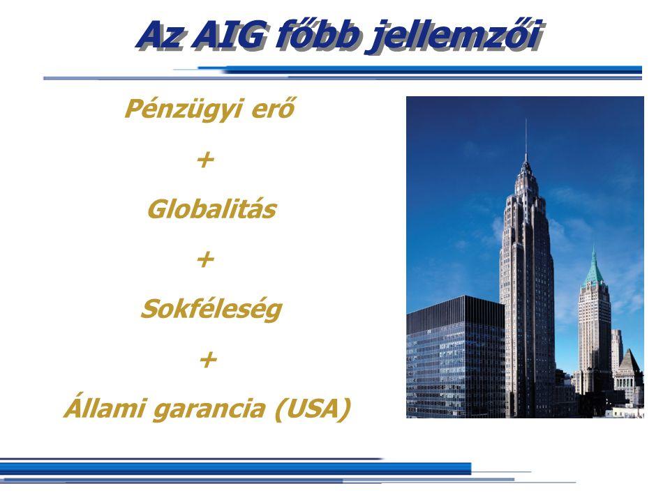 Az AIG főbb jellemzői Pénzügyi erő + Globalitás + Sokféleség + Állami garancia (USA)