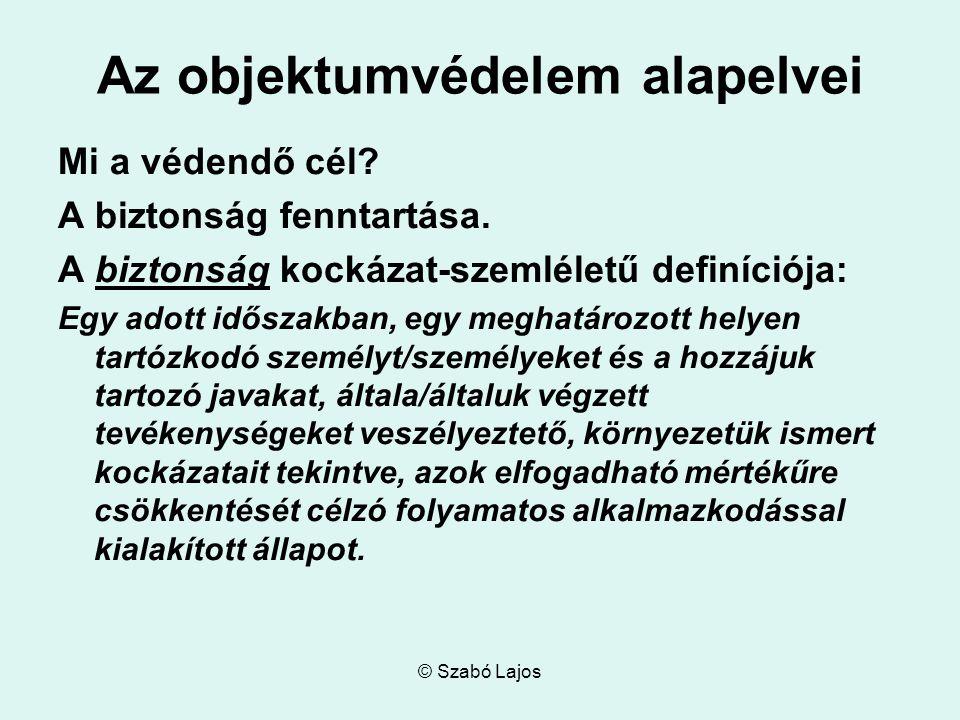 © Szabó Lajos Az objektumvédelem alapelvei Mi a védendő cél.