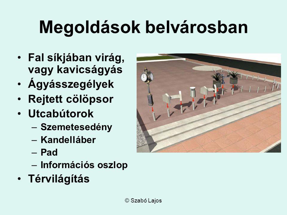 © Szabó Lajos A tér további kihasználása Az épület környezetének alakítása Biztonságtechnika elrejtése az eddigi kialakításokban Megoldások sor- és családi házas környezetben
