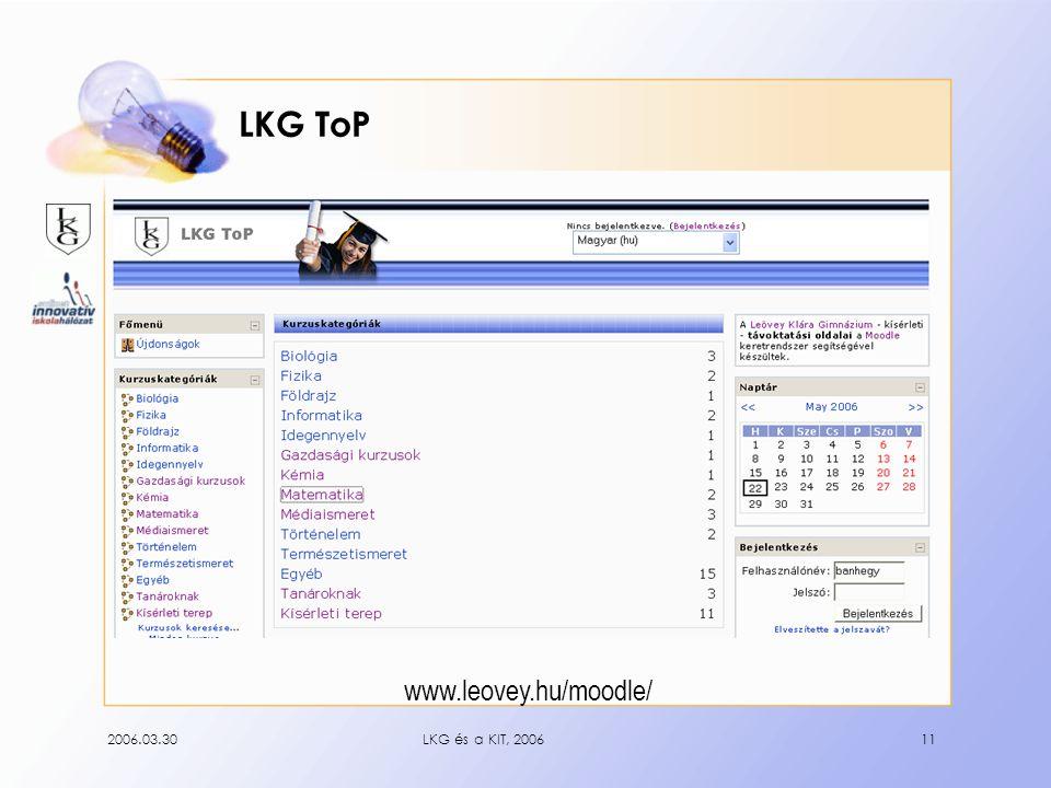 2006.03.30LKG és a KIT, 200611 LKG ToP www.leovey.hu/moodle/