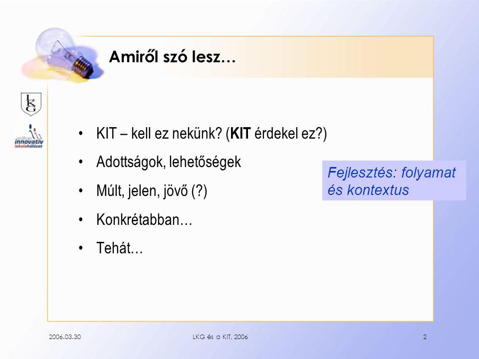 2006.03.30LKG és a KIT, 20062 Amiről szó lesz… KIT – kell ez nekünk.