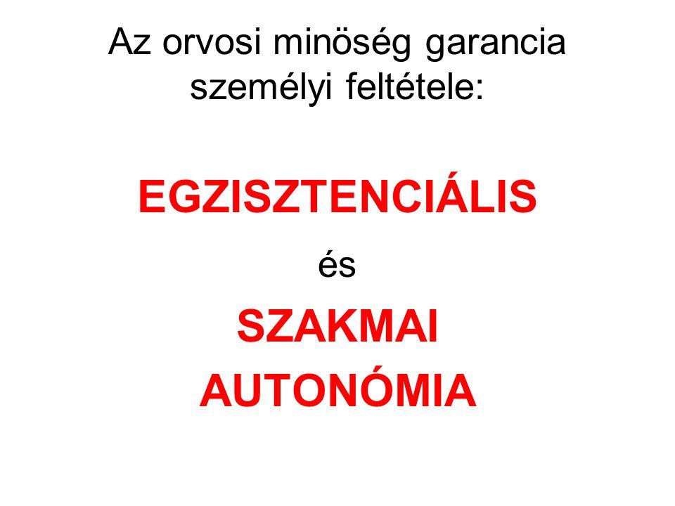 Az orvosi minöség garancia személyi feltétele: EGZISZTENCIÁLIS és SZAKMAI AUTONÓMIA