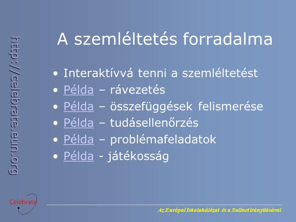 Az Európai Iskolahálózat és a Sulinet irányításával http://celebrate.eun.org A szemléltetés forradalma Interaktívvá tenni a szemléltetést Példa – rávezetésPélda Példa – összefüggések felismerésePélda Példa – tudásellenőrzésPélda Példa – problémafeladatokPélda Példa - játékosságPélda