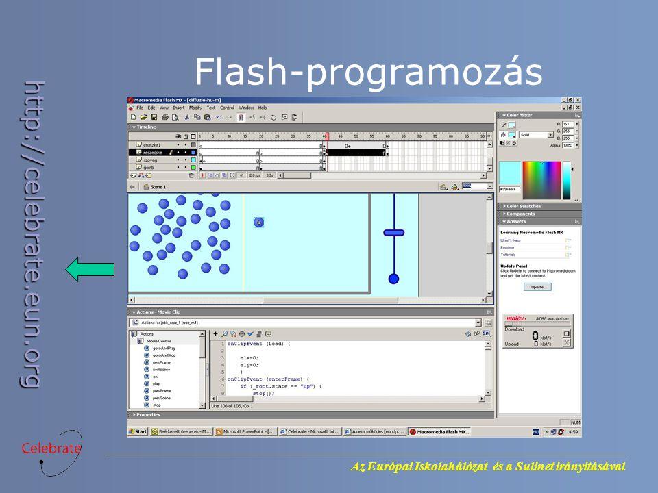 Az Európai Iskolahálózat és a Sulinet irányításával http://celebrate.eun.org Flash-programozás