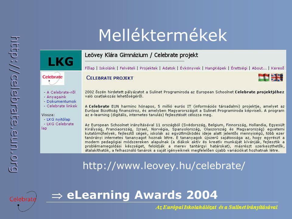 Az Európai Iskolahálózat és a Sulinet irányításával http://celebrate.eun.org Melléktermékek http://www.leovey.hu/celebrate/  eLearning Awards 2004
