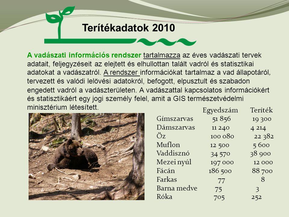 Terítékadatok 2010 A vadászati információs rendszer tartalmazza az éves vadászati tervek adatait, feljegyzéseit az elejtett és elhullottan talált vadr