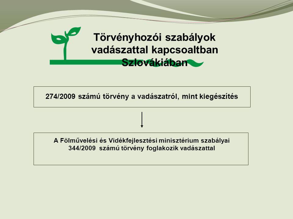 274/2009 számú törvény a vadászatról, mint kiegészítés Törvényhozói szabályok vadászattal kapcsoaltban Szlovákiában A Fölművelési és Vidékfejlesztési