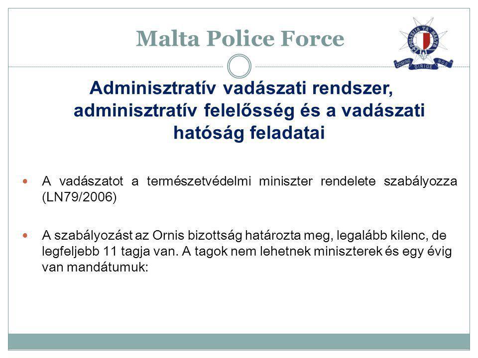 Malta Police Force Adminisztratív vadászati rendszer, adminisztratív felelősség és a vadászati hatóság feladatai A vadászatot a természetvédelmi minis