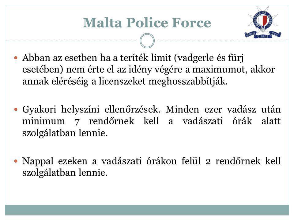 Malta Police Force Abban az esetben ha a teríték limit (vadgerle és fürj esetében) nem érte el az idény végére a maximumot, akkor annak eléréséig a li