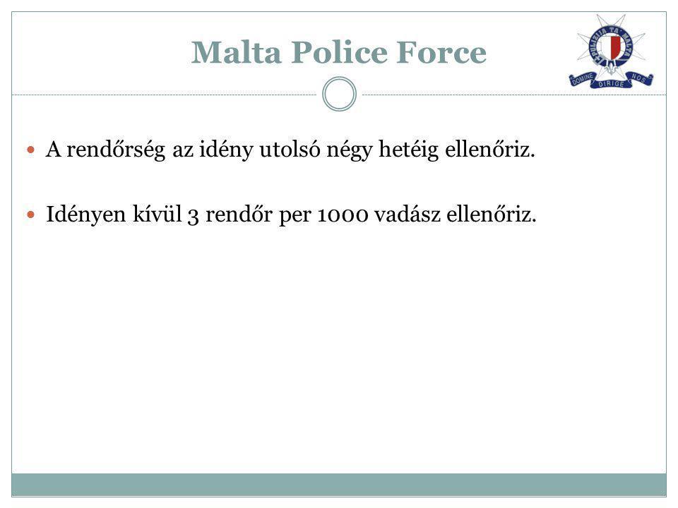 A rendőrség az idény utolsó négy hetéig ellenőriz. Idényen kívül 3 rendőr per 1000 vadász ellenőriz. Malta Police Force