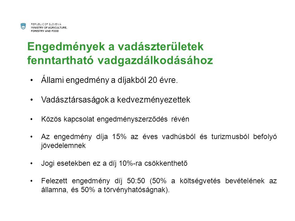REPUBLIC OF SLOVENIA MINISTRY OF AGRICULTURE, FORESTRY AND FOOD Állami engedmény a díjakból 20 évre.