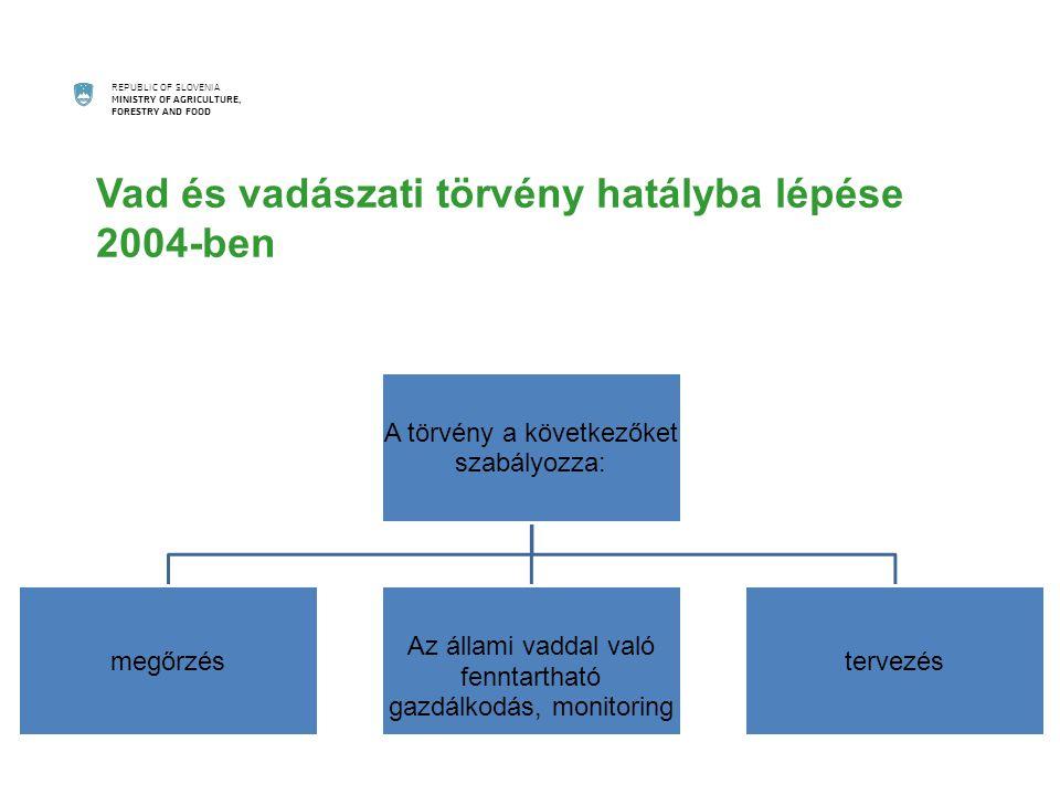 REPUBLIC OF SLOVENIA MINISTRY OF AGRICULTURE, FORESTRY AND FOOD Vad és vadászati törvény hatályba lépése 2004-ben A törvény a következőket szabályozza: megőrzés Az állami vaddal való fenntartható gazdálkodás, monitoring tervezés