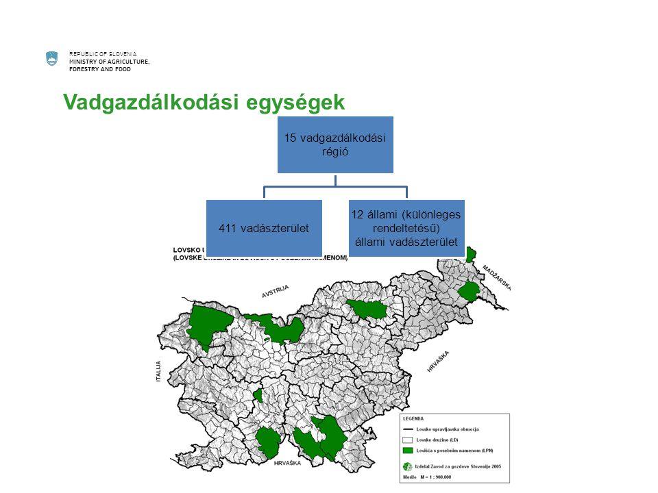 REPUBLIC OF SLOVENIA MINISTRY OF AGRICULTURE, FORESTRY AND FOOD Vadgazdálkodási egységek 15 vadgazdálkodási régió 411 vadászterület 12 állami (különleges rendeltetésű) állami vadászterület