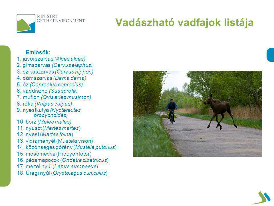 Vadászható vadfajok listája Madarak: 1.császármadár (Tetrastes bonasia) 2.