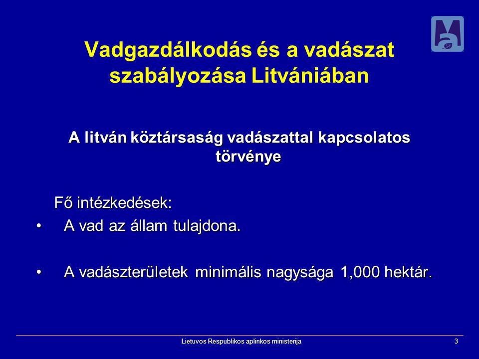 Lietuvos Respublikos aplinkos ministerija3 Vadgazdálkodás és a vadászat szabályozása Litvániában A litván köztársaság vadászattal kapcsolatos törvénye Fő intézkedések: A vad az állam tulajdona.