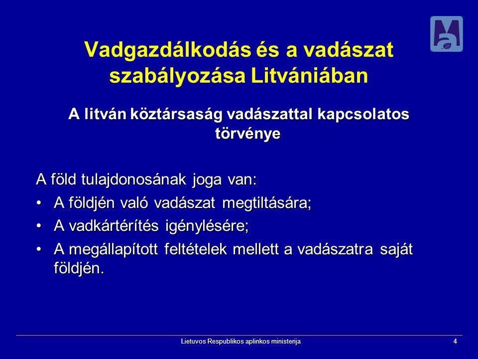 Lietuvos Respublikos aplinkos ministerija4 Vadgazdálkodás és a vadászat szabályozása Litvániában A litván köztársaság vadászattal kapcsolatos törvénye A föld tulajdonosának joga van: A földjén való vadászat megtiltására;A földjén való vadászat megtiltására; A vadkártérítés igénylésére;A vadkártérítés igénylésére; A megállapított feltételek mellett a vadászatra saját földjén.A megállapított feltételek mellett a vadászatra saját földjén.