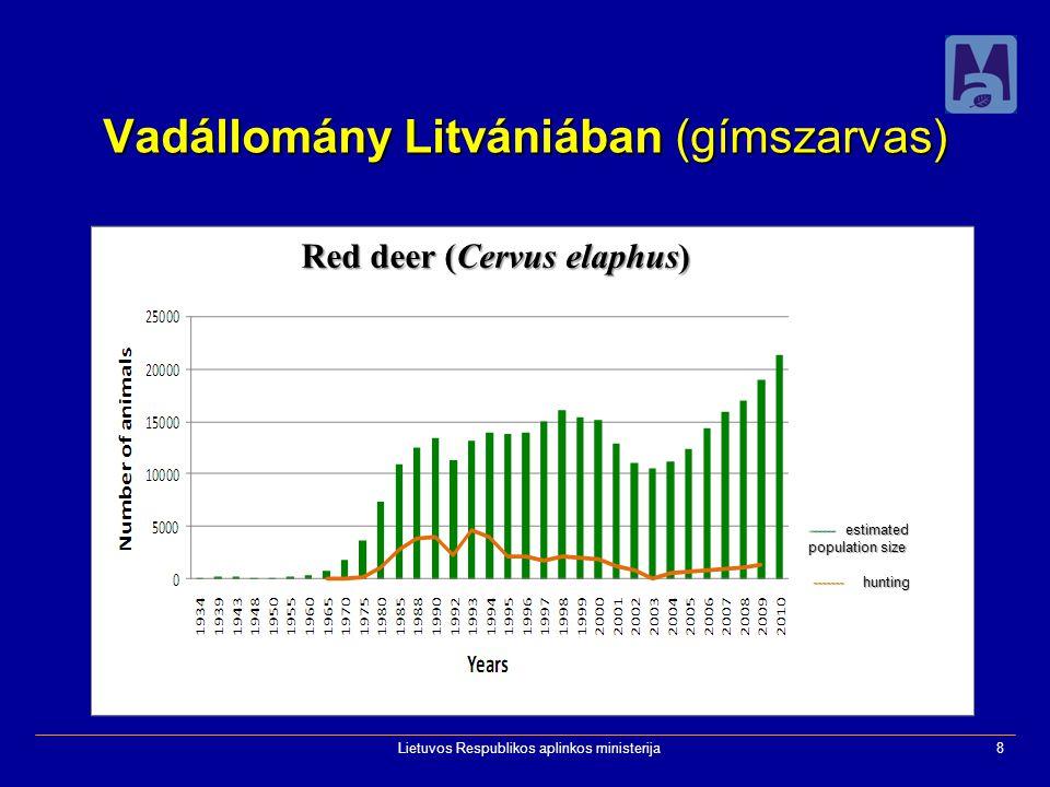 Lietuvos Respublikos aplinkos ministerija8 Vadállomány Litvániában (gímszarvas) Red deer (Cervus elaphus) ------ estimated population size ------- hunting ------- hunting