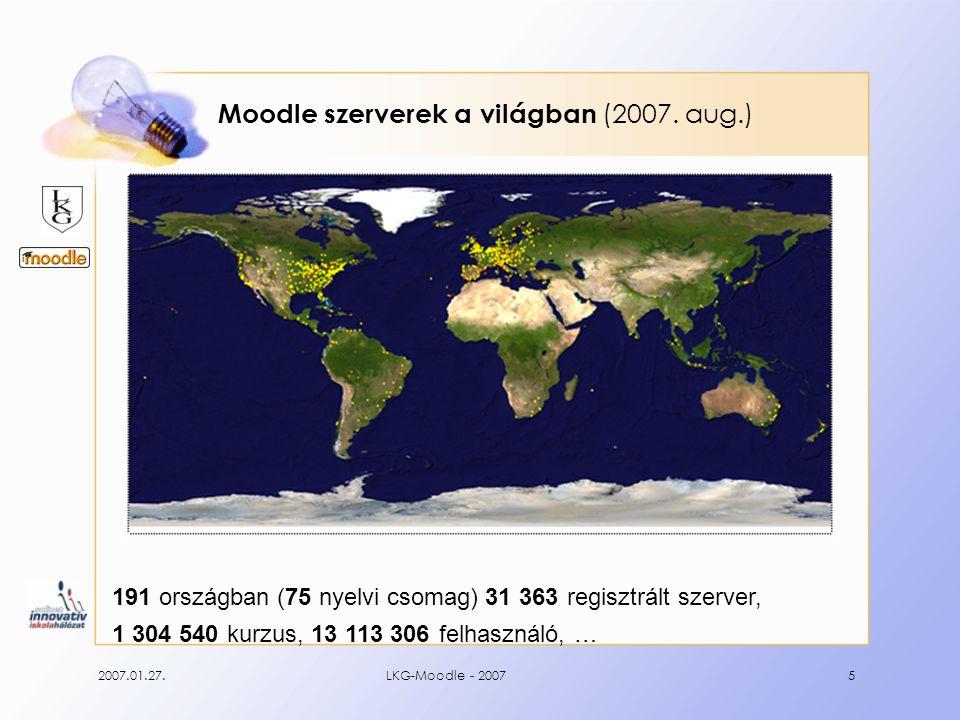 """2007.01.27.LKG-Moodle - 200716 Egy kurzus """"belseje Tananyagok, feladatokHírek, határidők, események"""
